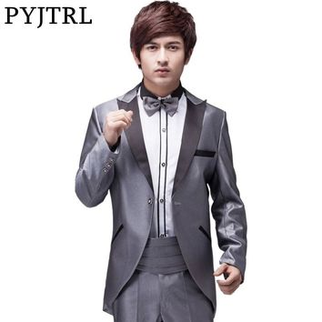 PYJTRL Mens Classic Silver Tuxedo Swallow Tail Coat Wedding Groom Dinner Party Suits With Pants Costume Homme Terno Masculino