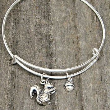 Sterling Silver Squirrel and Acorn on Adjustable Stacking Wire Bangle Charm Bracelet Style 601-1818 1726