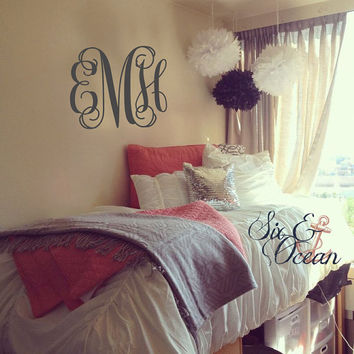 Monogram wall decal - Personalized Initials - College Dorm Room Wall Decal - Teen Wall Mural - Monogrammed Wall Vinyl Decal Custom Monogram