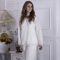 Cute Fuzzy Women Pajamas Winter Sleepwear Set