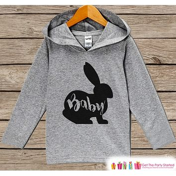 Kids Easter Outfit - Easter Baby Bunny Hoodie - Easter Spring Pullover - Baby Boy or Girl Easter Outfit - Egg Hunt - Kid Grey Toddler Hoodie
