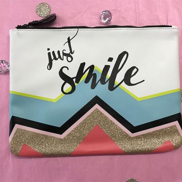 Just Smile Zipper Pouch with Gold Glitter Accent