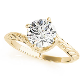 Engagement Ring -Swirl Solitaire Engraved Engagement Ring in Yellow Gold-ES1705YG