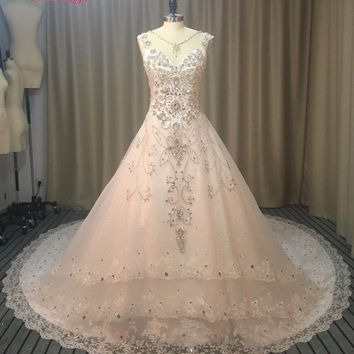Dream Angel Elegant Royal Train Crystal A Line Wedding Dresses 2017 Sexy Illusion Appliques Beading China Bridal Gown Plus Size