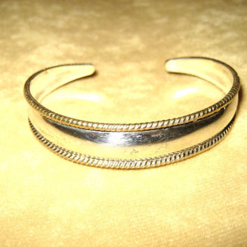 Vintage Sterling Silver Cuff Bracelet and Ring Set with Brass Rope Detail