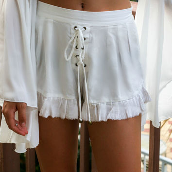SEA DREAMER The Label Shoal Bay White Lace Tie Shorts