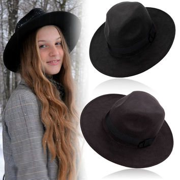 Vintage Cotton Felt Fedora Hat- Floppy Wide Brim Polyester