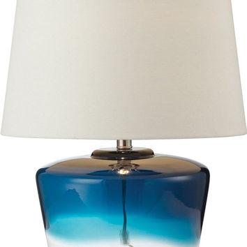 0-027288>Macaw Well 1-Light 3-Way Table Lamp Blue And Clear