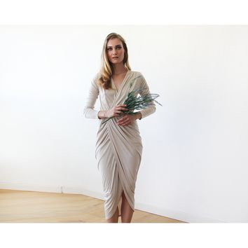Champagne tulip wrap long sleeves maxi dress SALE 1034
