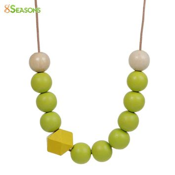 8SEASONS Handmade Summer Polygon Yellow Spray Paint Wood Beads Natural Round Adjustable Bohemia Necklace DIY About 70cm 1 Piece