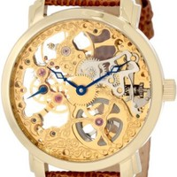 "Akribos XXIV Men's AK406YG ""Bravura Davinci"" Mechanical Gold-Tone Stainless Steel and Leather Watch"