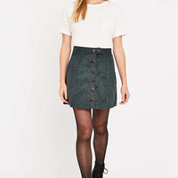 Urban Renewal Vintage Remnants Forest Green Cord A-Line Skirt - Urban Outfitters