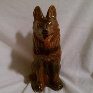 Vintage 1970s Ceramic German Shepherd Coin Piggy Bank