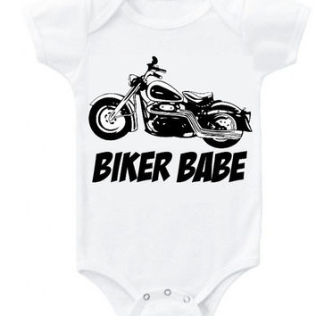 BIKER BABE motorcycle vintage graphic baby girl bodysuit clothes Onesuit or organic cotton toddler T shirt top