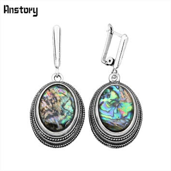 Fashion Jewelry Vintage Look Antique Silver Plated Double Layer Delicate Oval Abalone Shell Dangle Clip Earrings TE136