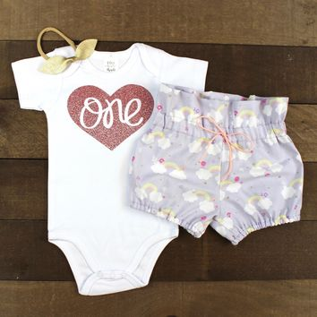 Baby Girls 1st Birthday Outfit | Purple Rainbow Cloud High Waisted Bloomers Outfit with One in Rose Gold Heart