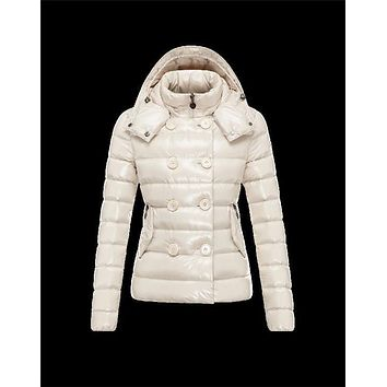 Moncler PLANE Detachable Hood Double-Breasted Ivory Jackets Lacquered Nylon Womens 413