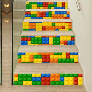 6Piece/Set 18*100CM Children Play LEGO Pattern 3D Stairs Stickers  Modern Muurstickers Home Decor Autocollants Muraux