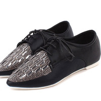 Trendy Women's Flat Shoes With Rhinestones and Lace-Up Design
