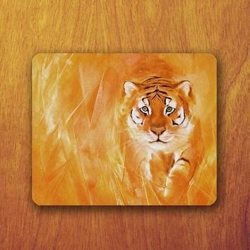 Tiger Painting Mouse Pad Oil Watercolor Art MousePad Office Pad Work Accessory Personalized Custom Gift