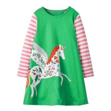 Jumping Meters Unicorn Party 2018 Autumn Brand Dresses Baby Girls Costumes For Kids Clothes Appliques Princess Dress Children