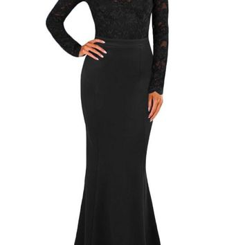 Fashion Black Lace Long Sleeve Bow Back Maxi Party Dress