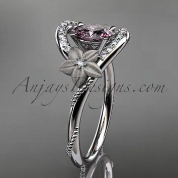 14kt white gold diamond unique floral engagement ring,wedding ring ADLR166. with Titanium Pink SPINEL, SRI-LANKA