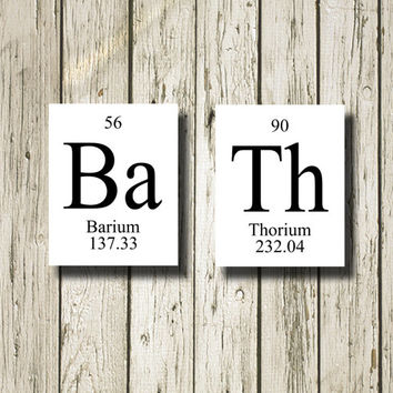 BATH Periodic Table Elements Black White Printable Instant Download Poster Home Decor Wall Art PT001w