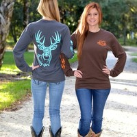 Gray/Mint or Brown/Orange long sleeve big buck shirt