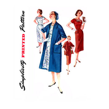 1950s Sheath Dress and Coat Pattern Bust 30 34 Simplicity 1458 Swing Clutch Coat Duster Kimono Sleeve Dress Womens Vintage Sewing Pattern
