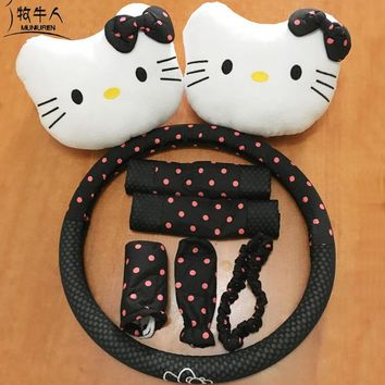 8pcs/ set Cute Cartoon Hello Kitty Car Seat Cover Accessories Polka Dot Print Universal Steering Wheel Covers Neck Headrest