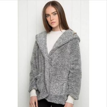 Europe and America loose plush hooded single button hoodies with pocket fashion warm women outerwear zip-up coat clothing