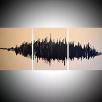 """ARTFINDER: sound wave art modern contemporary painting in triptych """"In Rhythm"""" beige music theme symphony black 48 x 20"""" by Stuart Wright - """" In Rhythm """"    A modern painting, based on so..."""