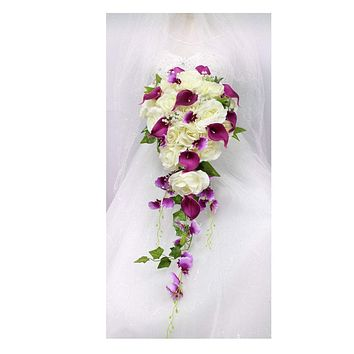 Elegant Long Cascading Bouquet-Artificial rose, calla lily, orchids, and greenery