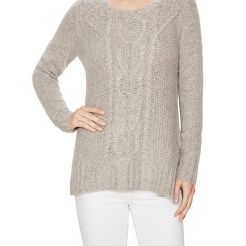 Autumn Cashmere Women's Cashmere Cable Knit High-Low Sweater - Cream/Tan
