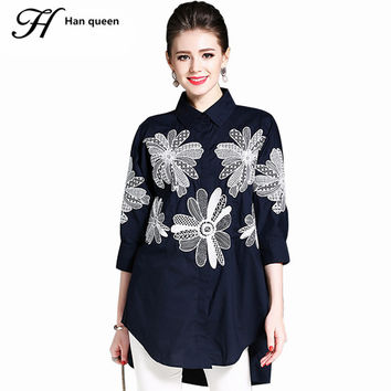 H Han Queen Women Blouses Turn-down Collar Loose Embroidered Shirt Tops Work Casual Vintage Linen Blouse Plus Size Women Blusa