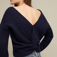 Ribbed Twist-Back Pullover