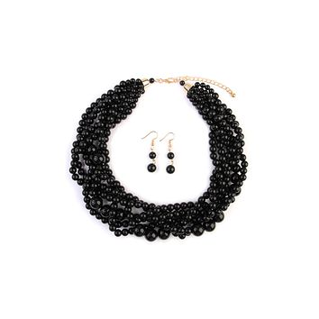 Multi Strand Bubble Choker Necklace and Earring Set