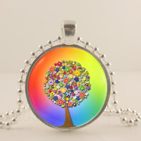 """Rainbow 1"""" Tree and flower glass and metal Pendant necklace Jewelry."""