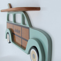 Personalized Surfboard Shelf with Woody Surf Wagon Wall Hanger