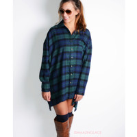 Daydreamer Green Oversized Plaid Flannel