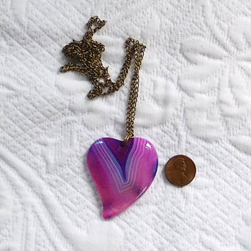Hippie Necklace Purple Onyx Pink Dragons Vein Heart Pendant Boho Style Jewelry Chakra Gemstone Bohemian Necklace Brass Chain Gypsy Cowgirl
