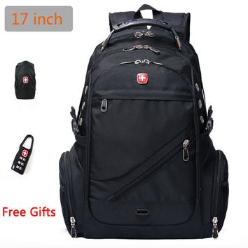 "Swiss Military Army Travel Bags Laptop Backpack 15.6"" 17""  Multifunctional Schoolbag for Macbook Waterproof  fabric"