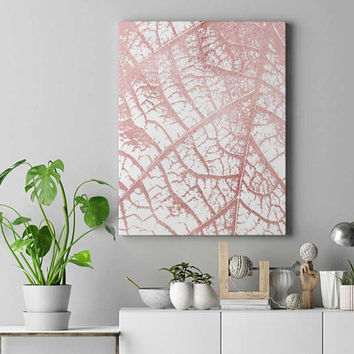 Rose gold leaf print, rose gold, home decor, printable leaf art, rose gold wall art, leaf poster, DIY room decor, modern office wall art