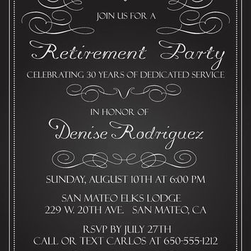 Chalkboard Retirement Invitation | Retirement Party Invites | Printable Black and White Invitations