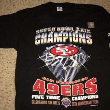 "Sale!! Vintage Starter San Francisco 49ers ""Super Bowl XXIX CHampions"" Football Shirt"