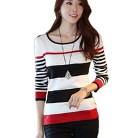 Zeagoo Women's Autumn Winter Korean Casual Long Sleeve Stripe Sweater Pullover:Amazon:Clothing