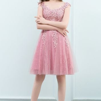 Short Prom Dress Party Cocktail Dresses Tulle Applique with Pearls
