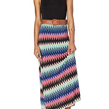 Chevron Belted Maxi Dress