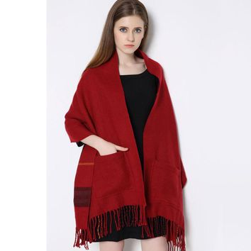 6 Style Winter Scarf Luxury New Women Vintage Tassel Blanket Women Lady Knit Shawl Cashmere Mishmash with Pocket